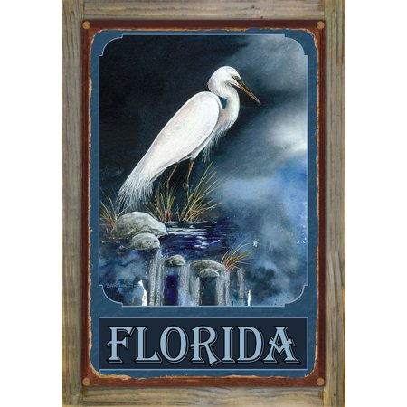 "Florida Snowy Egret Rustic Metal Print on Reclaimed Barn Wood by Dave Bartholet (12"" x 18"")"