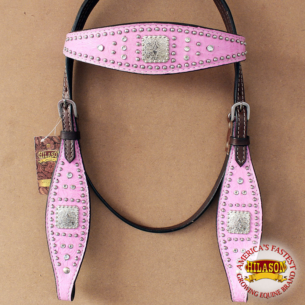 HILASON WESTERN AMERICAN LEATHER HORSE HEADSTALL PINK FLORAL CLEAR