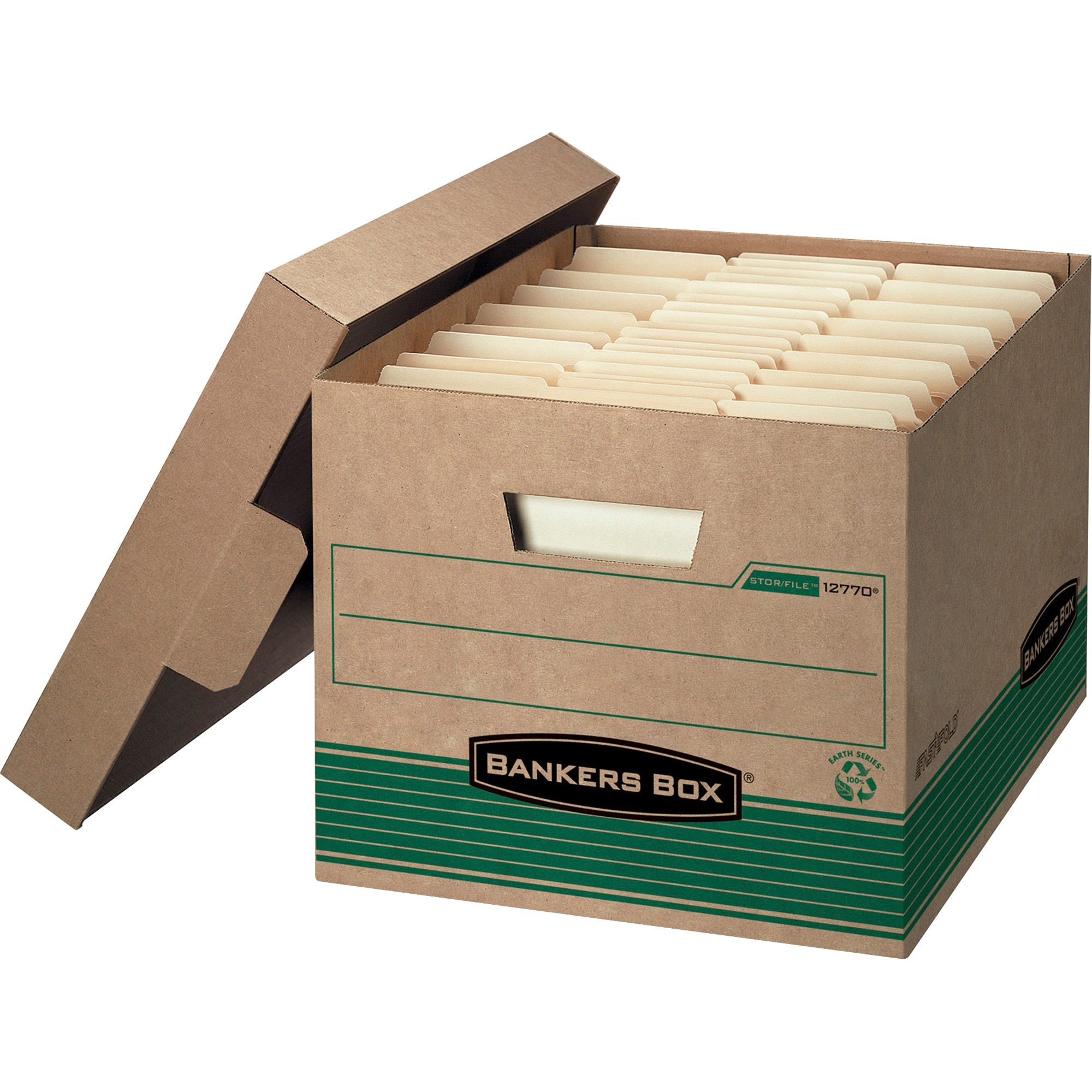 Bankers Box, FEL12770, Medium Letter/Legal Storage Boxes, 12 / Carton, White,Blue