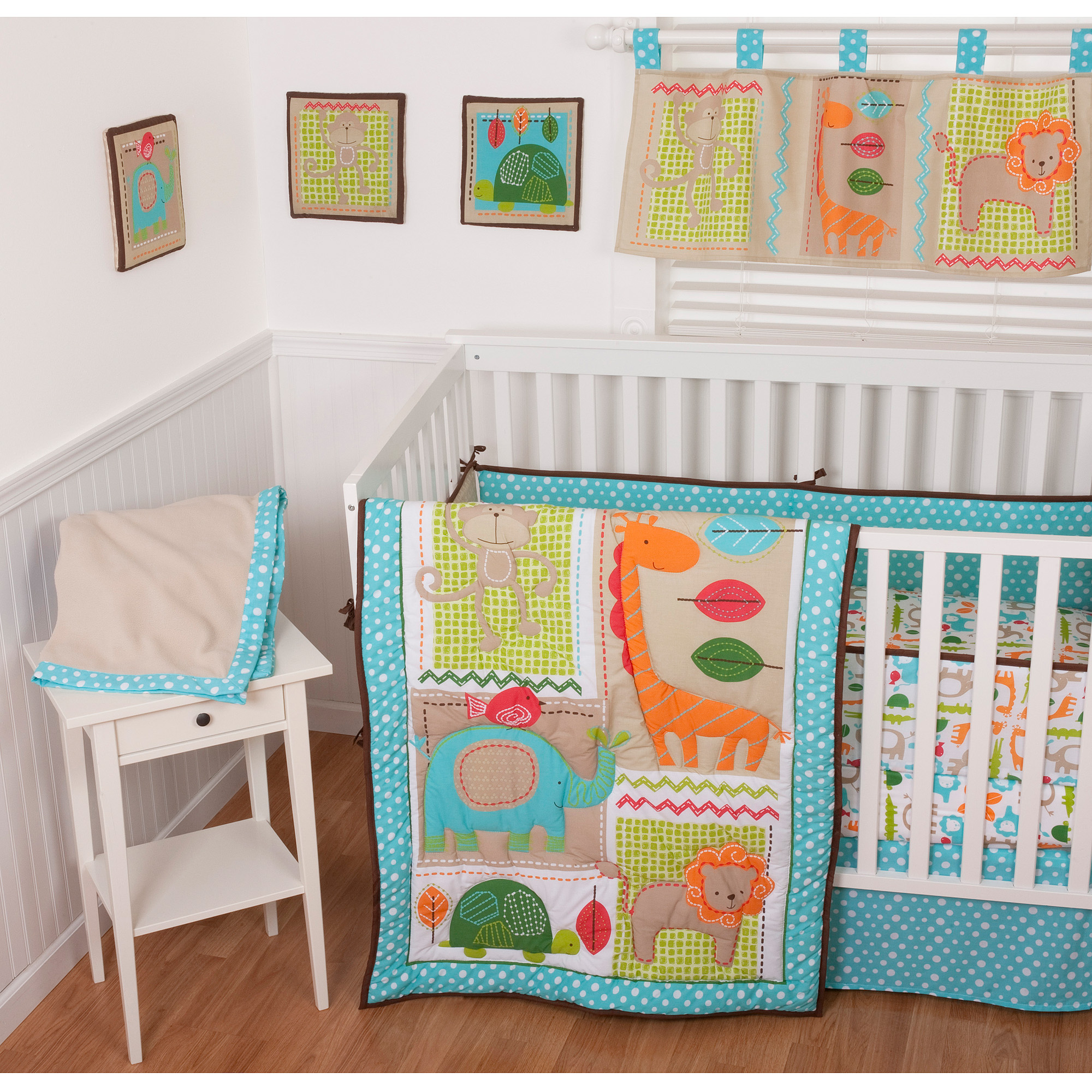 Sumersault Jungle Dance 9-Piece Nursery in a Bag Crib Bedding Set with BONUS Bumper