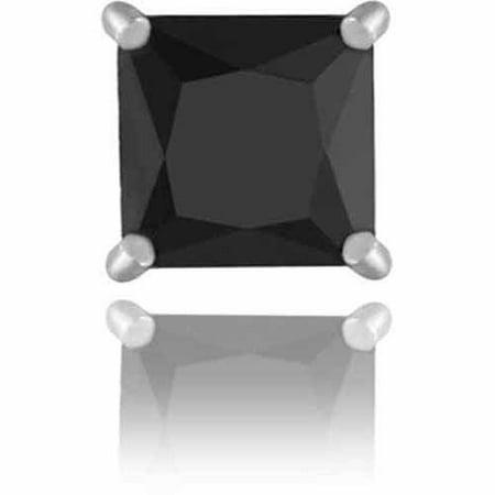6mm Black CZ Sterling Silver Square Men's Stud Earring 6 Mm Square Stud