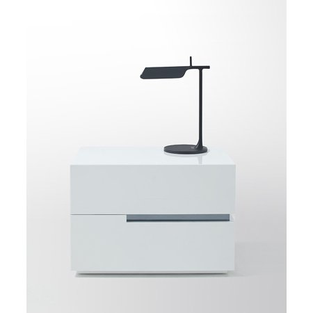 VIG Furniture Modrest Polar Modern White Lacquer  Nightstand-Color:White,Design:Rigth Side,Finish:Glossy