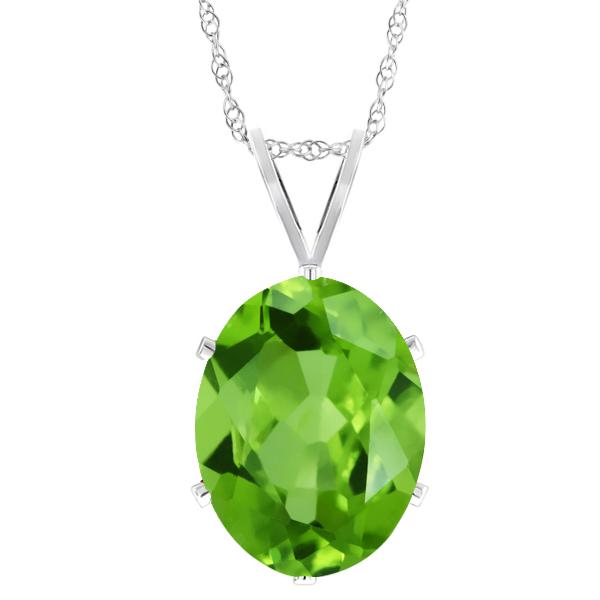 0.80 Ct Oval Shape Green Peridot Sterling Silver Pendant