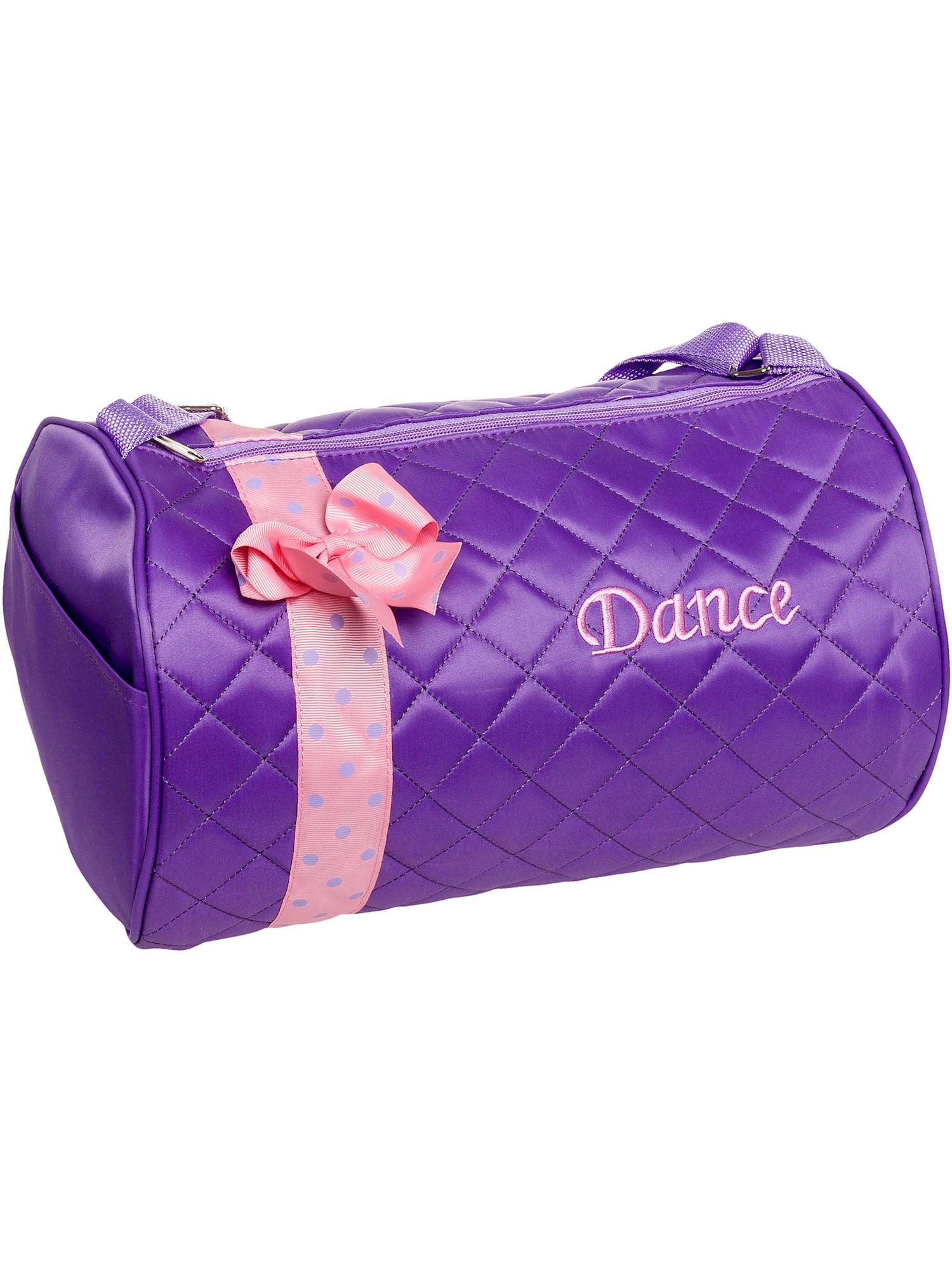SILVER LILLY NEW Girl Dance Cheer Ballet Duffel Travel Gym Duffle Bag w/ Bow NWT