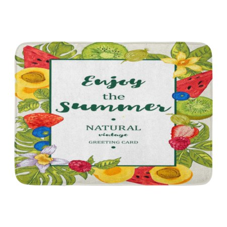 GODPOK Orange Tropical Summer Exotic Fruits with Watermelon Apricot Kiwi Vanilla and Berries Nature Vintage Rug Doormat Bath Mat 23.6x15.7 inch