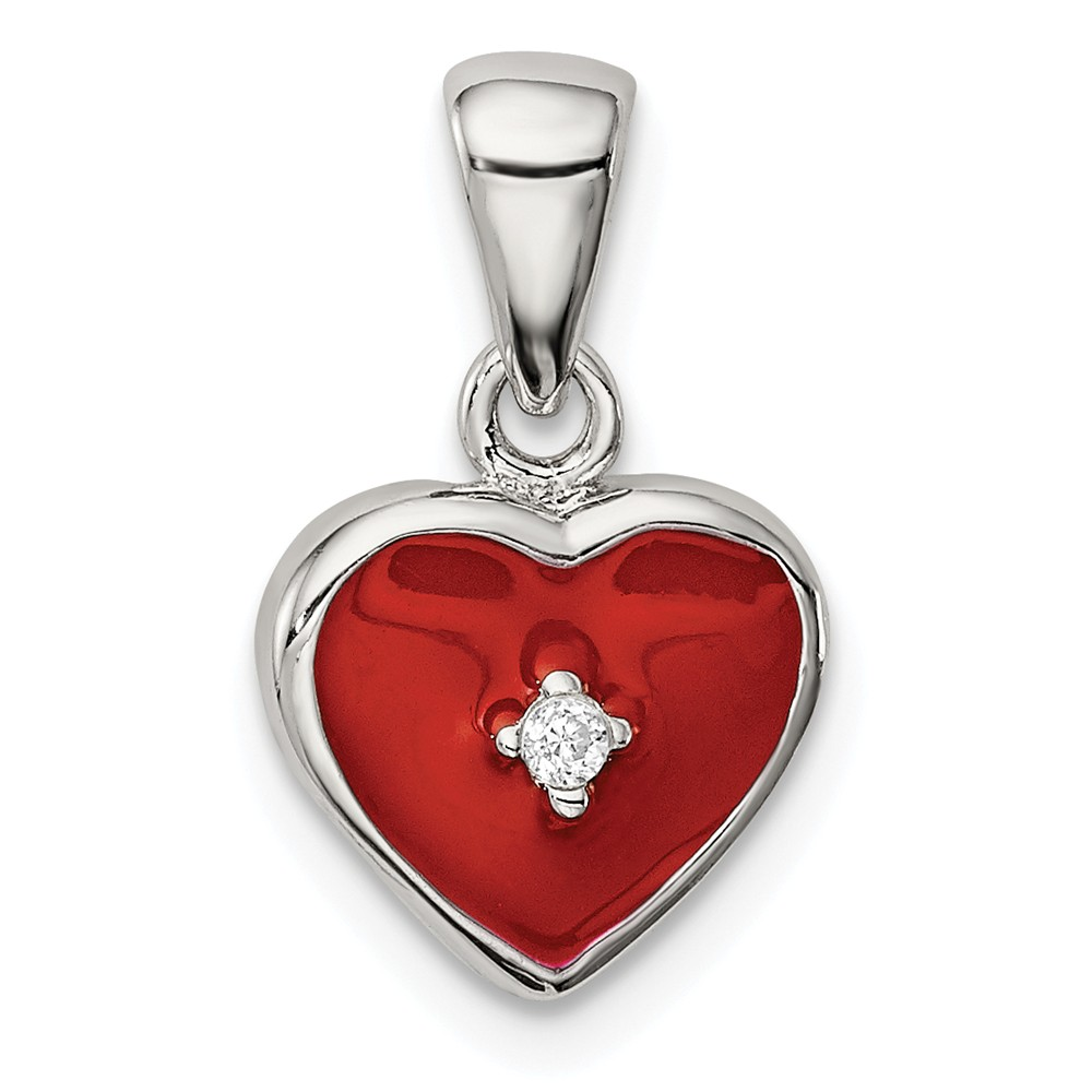 Sterling Silver CZ Red Enamel Heart Pendant