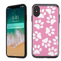 For Apple iPhone XS Max Case, OneToughShield ® Dual Layer ShockProof Protector Phone Case Cover with Brushed Texture - Pet Paw/ Pink