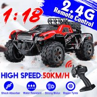 1:18 50 KM/H Electric USB Rechargeable RC Car & Truck Monster Off-Road Vehicle, 2.4GHz Remote Control Toy Car, 260 Strong Motor