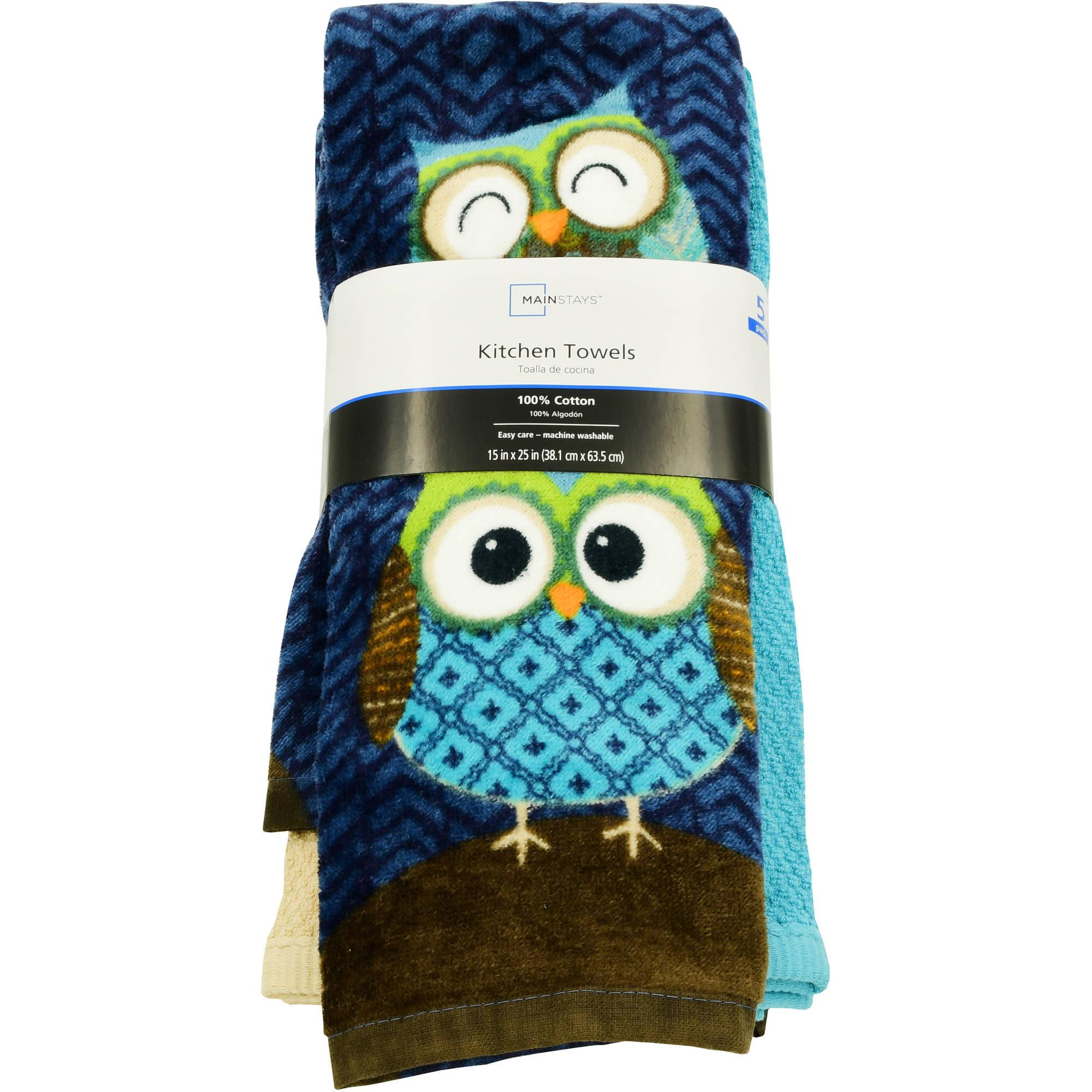 Mainstays Owls 5pc Kitchen Towel Walmart
