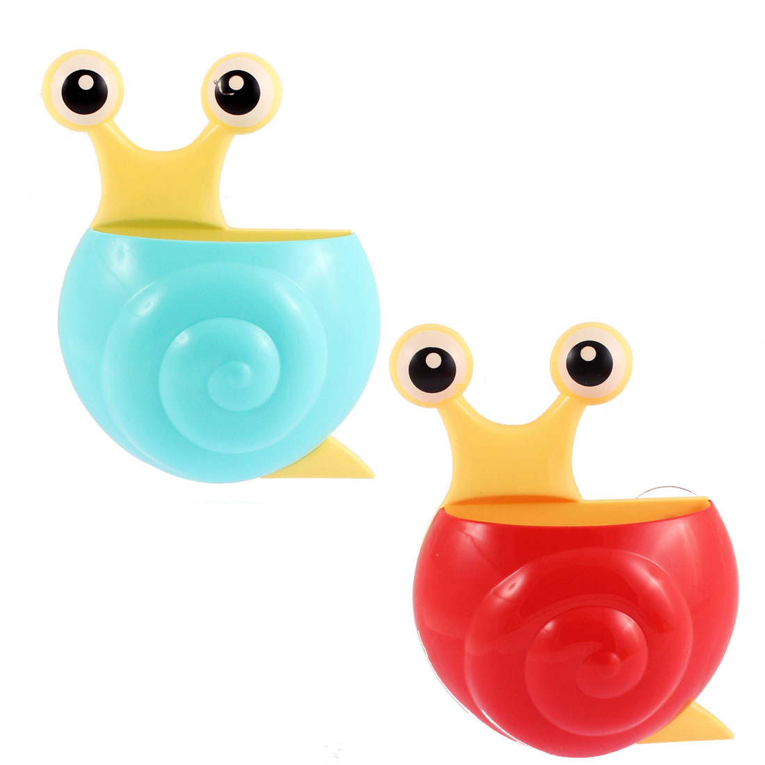 Uxcell Plastic Snail Design Suction Cup Toothbrush Holder Cyan Red 2pcs