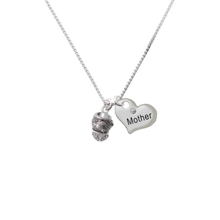 - Silvertone Horse Head on Hatched Background Spinners Mother Heart Necklace
