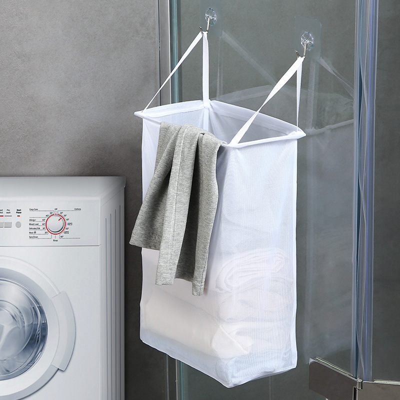 Laundry Nook Door-Hanging Laundry Hamper with Stainless Steel Hooks Green