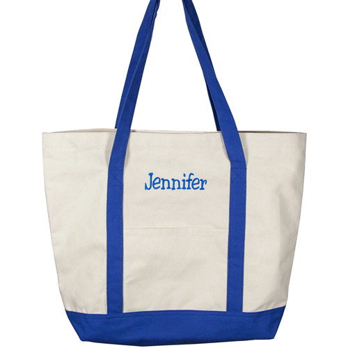 Personalized Canvas Tote Bag, Blue Name, Casual Serif