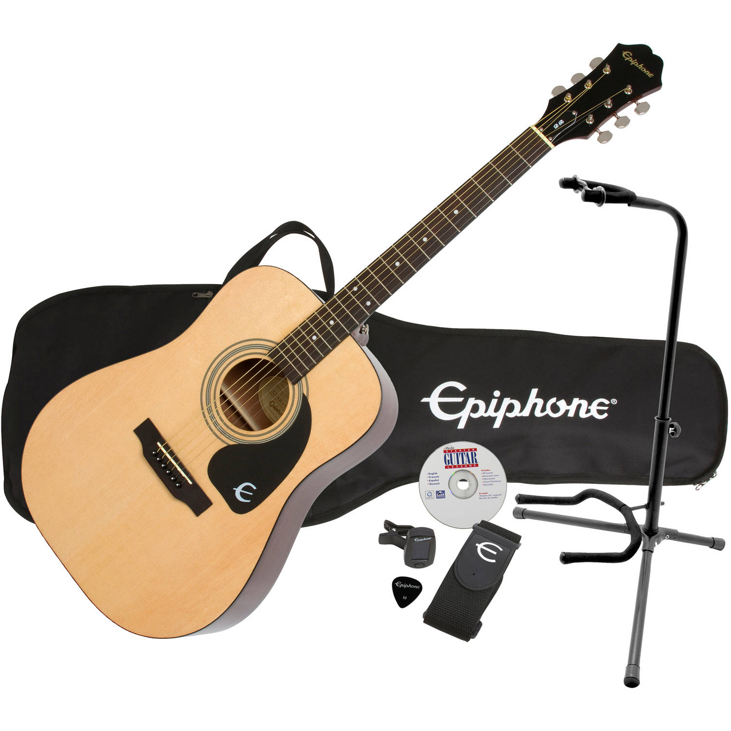 Epiphone DR-100 Exclusive Steel String Acoustic Guitar Pack Plus with eMedia Instructional Software and On Stage XCG4 Guitar Stand
