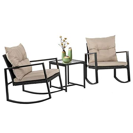 Outdoor Patio Rocking Chair 3 PCS Bistro Set Garden Conversation Sets Wicker Rattan Furniture for Backyard Porch Balcony Poolside ()