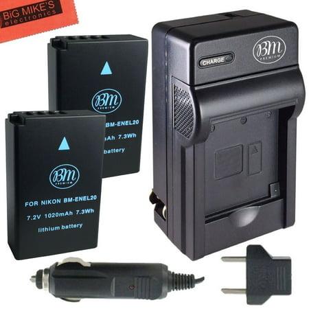 BM Premium Pack of 2 ENEL20, EN-EL20a Batteries And Battery Charger for Nikon DL24-500, Coolpix A, 1 AW1, 1 J1, 1 J2, 1 J3, 1 S1, 1 V3 Digital