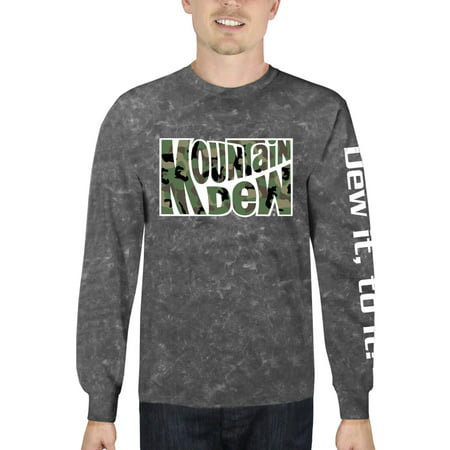 Mountain Dew Camo Men's Long Sleeve Mineral Wash Graphic T-Shirt, up to Size 3XL (Mountain Camo)