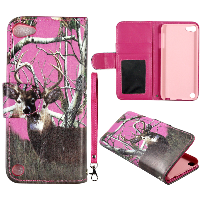 Camo Pink Deer Wallet Folio Case for Ipod Touch 5 Fashion Flip PU Leather Cover Card Slots & Stand