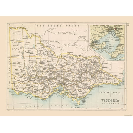 Map Eastern Australia.South Eastern Australia Map Victoria State Bartholomew 1892 30 52 X 23