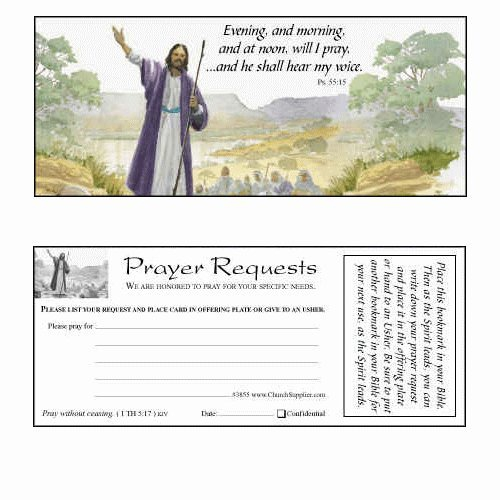 Bible Bookmarks and Prayer Request Cards for Churches (Pkg of 100 Cards) by