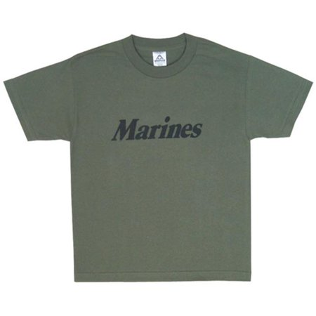 Youth Olive Drab (Fox Outdoor 64-815 S Youth Marines Imprinted T-Shirt, Olive Drab - Small )