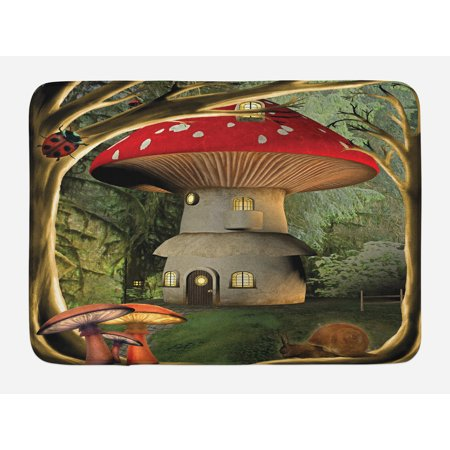 Mushroom Bath Mat, Shroom House in Enchanted Forest wih Ladybug and Snail Whimsical Tree, Non-Slip Plush Mat Bathroom Kitchen Laundry Room Decor, 29.5 X 17.5 Inches, Red Pale Coffee Green, Ambesonne
