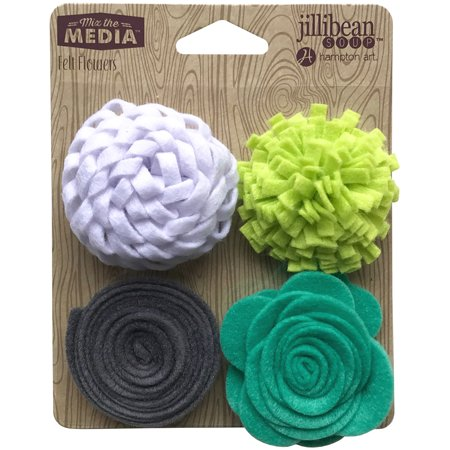Jillibean Soup Mix the Media Lots of Lime Felt Flowers, 4 - Felt Flowers Diy