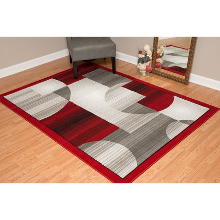 Blocks Contemporary Area Rug - Designer Home Cowboy Area Rugs - 851-11130 Contemporary Red Circles Blocks Cubes Boxes Rug