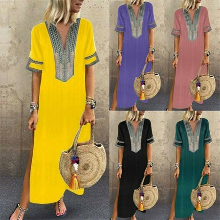 Womens Maxi Beach Dress Short Sleeve Casual Boho Kaftan Tunic Gypsy Ethnic