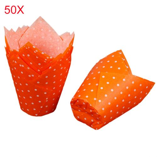 Kitchen 50PCS High Temperature Resistant Cake Paper Cup Baking CupCakes Cup Holiday Christmas Muffin Wraps Cases