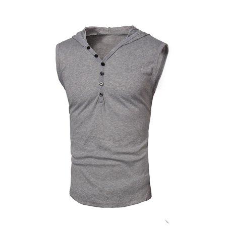 e441e74de80ec Men s Slim Fit Sleeveless Hoodies Solid Color Shirts Summer Tank ...