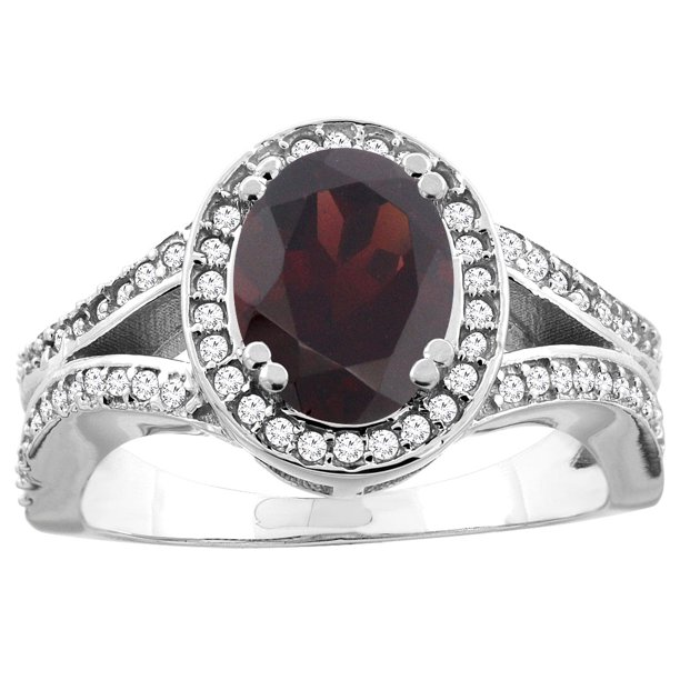 10K White Gold Natural Garnet Split Ring Oval 8x6mm Diamond Accent, size 6.5