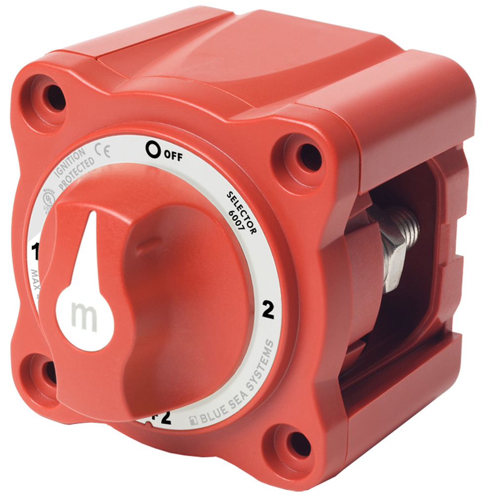 Blue Sea Systems m-Series Mini Selector Battery Switch, Red