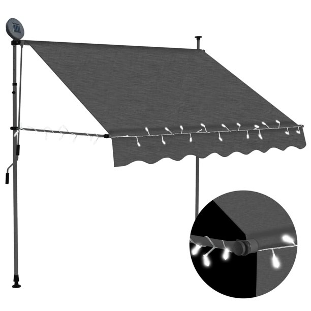 """Manual Retractable Awning with LED 59.1"""" Anthracite ..."""