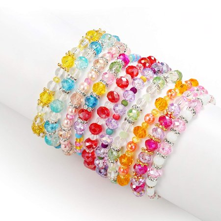 Pinksheep Friendship Bracelets For Kids Crystal Beaded 10 Pc Princess Charm Bracelet