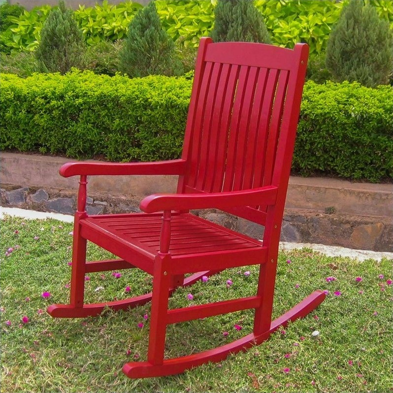 Pemberly Row Patio Rocking Chair in Red