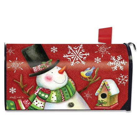 Weather Vinyl Mailbox Cover - Frosty Friends Christmas Magnetic Mailbox Cover Snowman Standard Briarwood Lane