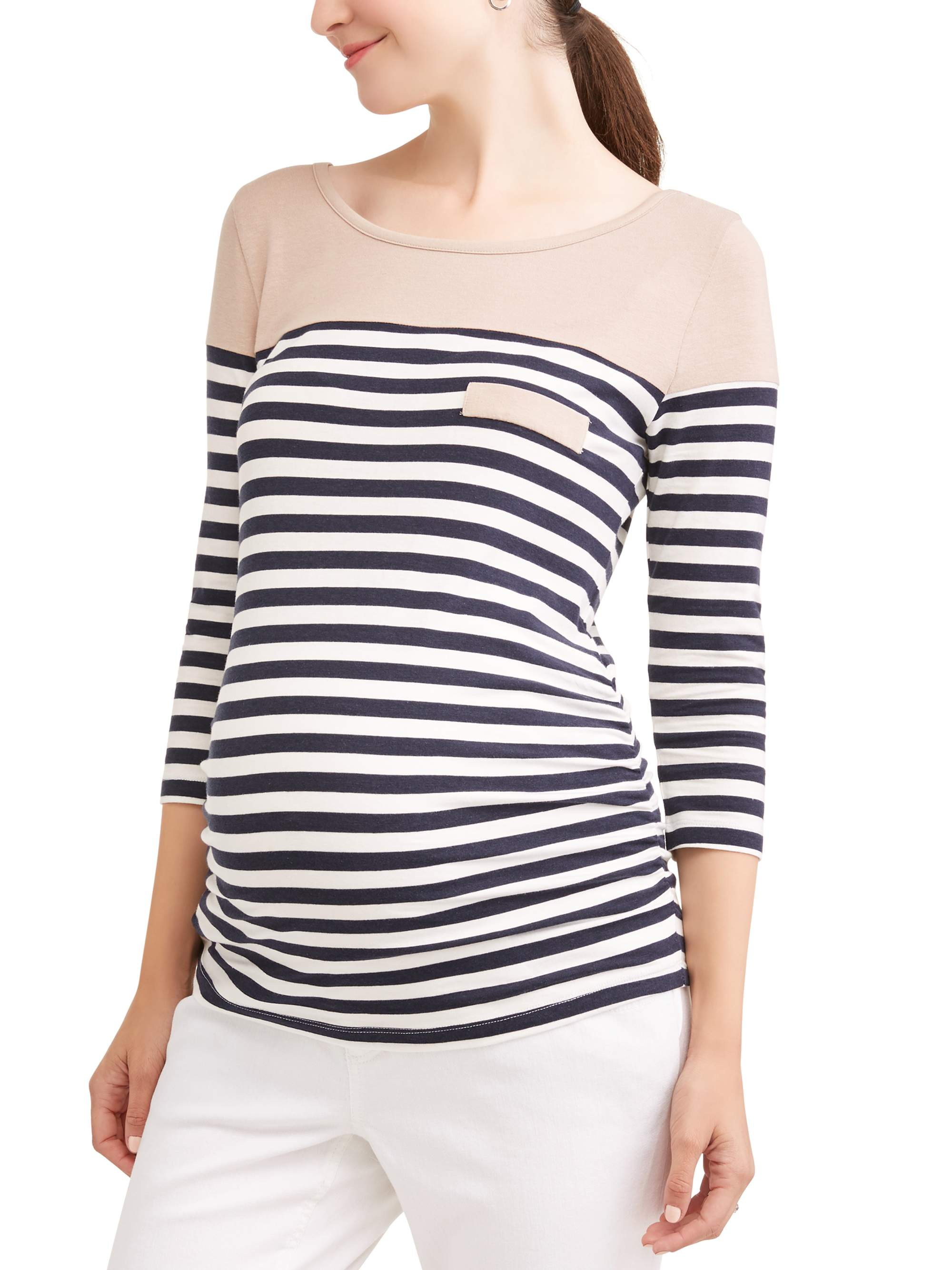 Maternity Casual Stripe Color Block Top