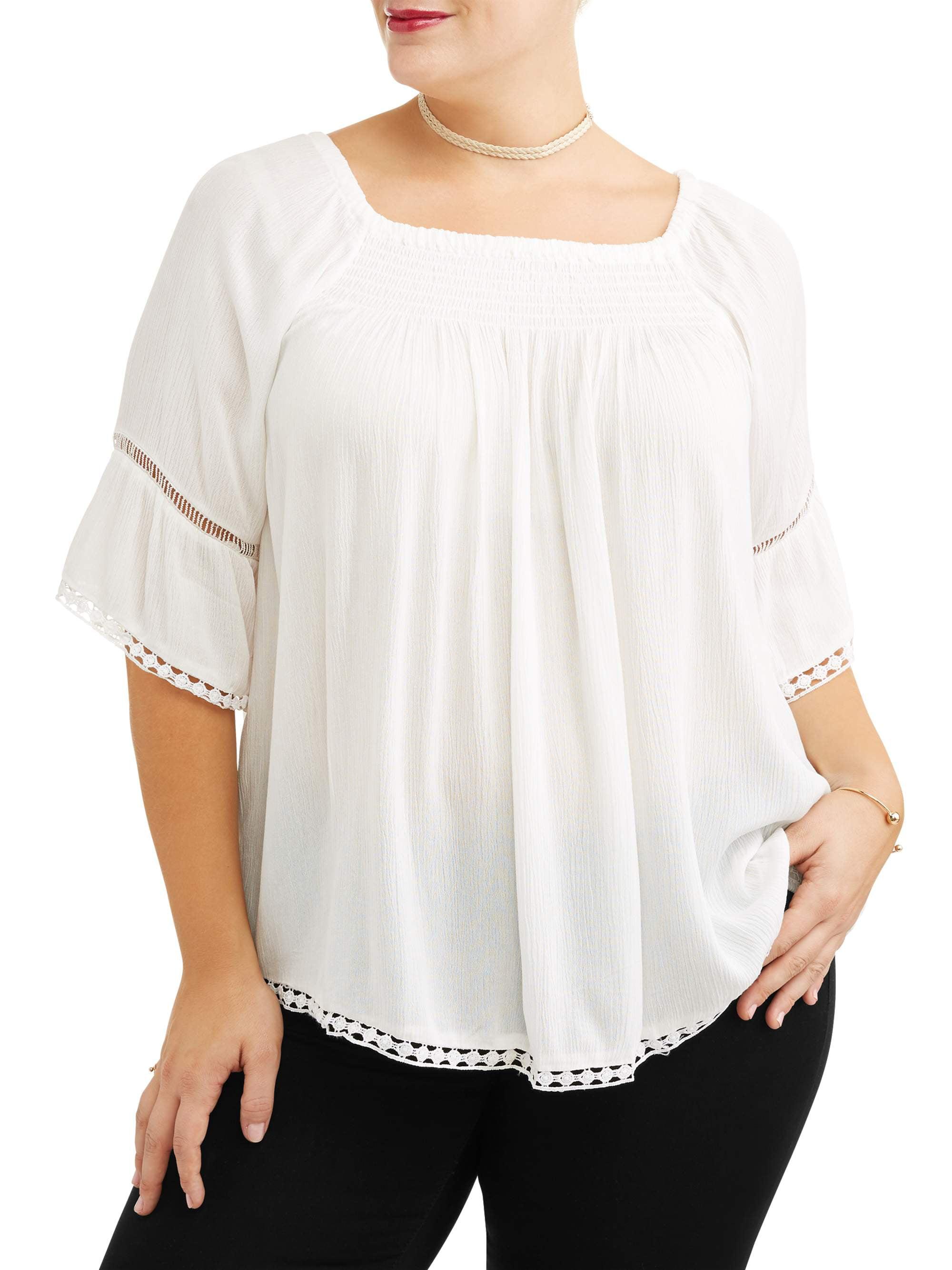 337c43ef68b Me Jane - Women s Plus Size Crochet Bib Blouse - Walmart.com