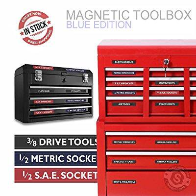 "Steellabels - Magnetic Tool Box Organizer Labels (blue edition) organize  boxes, drawers & cabinets ""Quick & Easy"", fits all brands of 'Steel'"