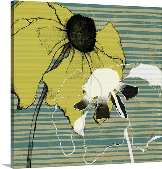 Great BIG Canvas | Jennifer Goldberger Premium Thick-Wrap Canvas entitled Layered Poppies I