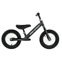 "12"" HUNTER SPORT Balance Bike Steel Frame No-Pedal Black Rims with Air Tire: Black"