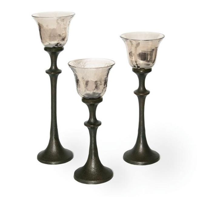 Midwest CBK EA1021 Set of 3 Goblet Candleholders Clear - Glass And Metal