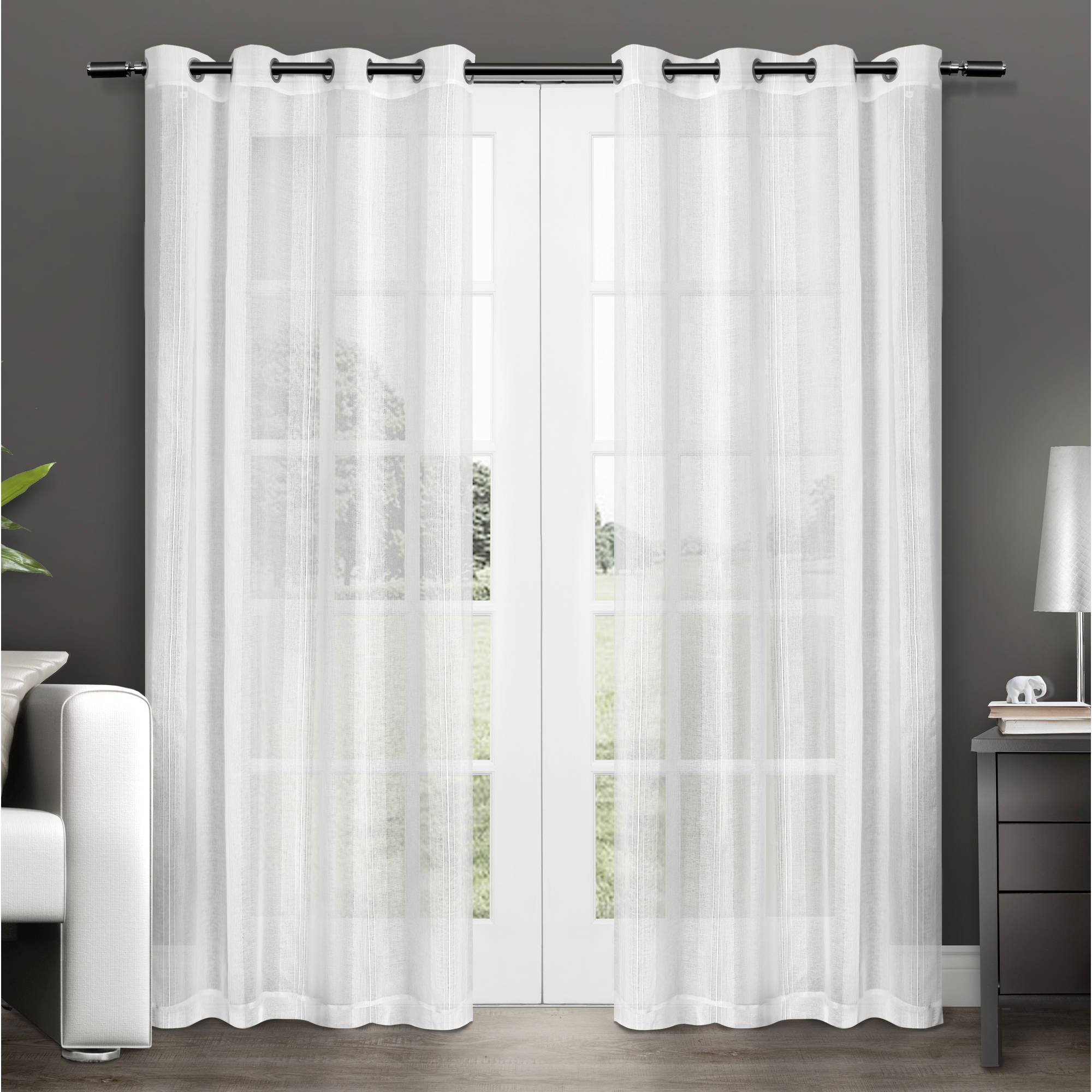 Penny Sheer Grommet-Top Window Curtain Panels, Set of 2 by Exclusive Home