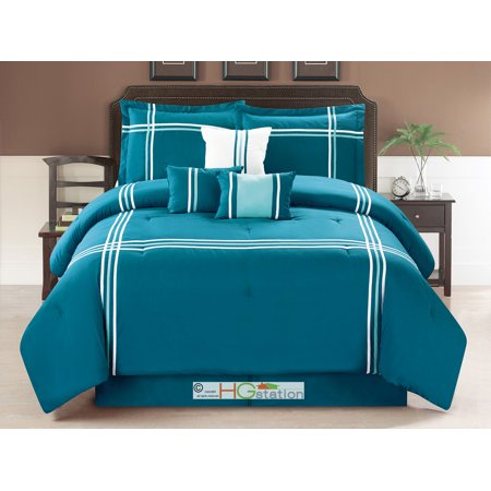 7-Pc Striped Bordered Patchwork Window Comforter Set Teal Blue White Turquiose Queen