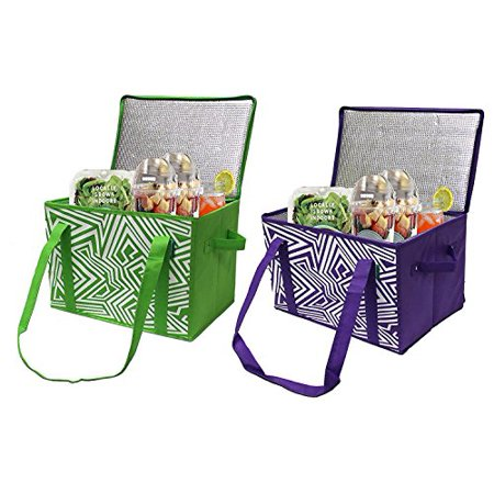 Earthwise Insulated Reusable Grocery Bag Shopping Box with REINFORCED BOTTOM PANEL and ZIPPER TOP LID in Bright Colors EXTRA SIDE HANDLES FOR EASY LIFTING (Set of - Bags And Boxes