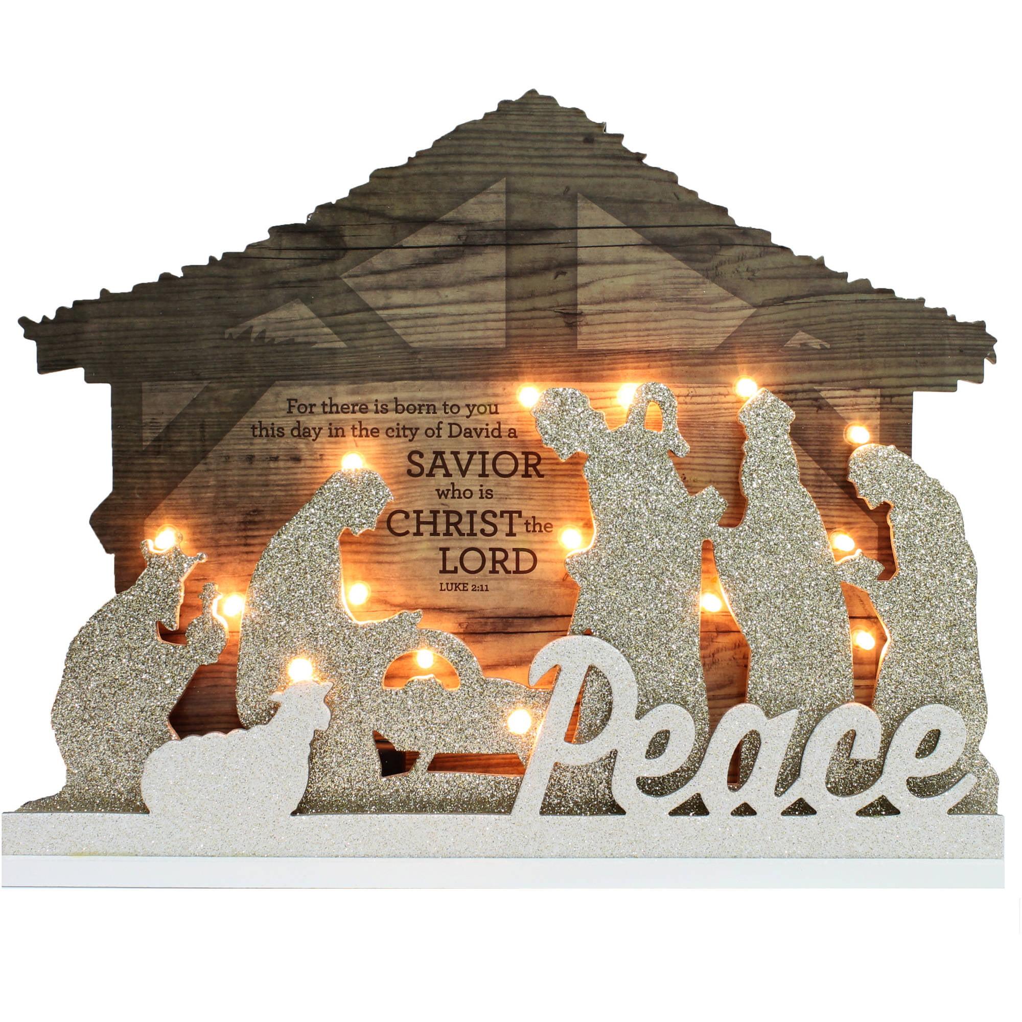 Holiday Time Christmas Decor 14 Lighted Nativity Scene Walmart Com