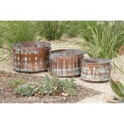 Decmode Metal Planter, Set of 3, Multi Color