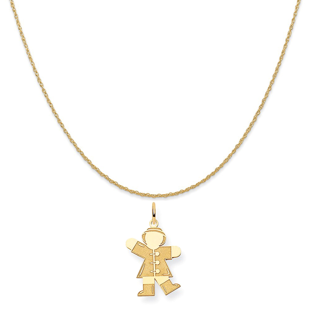 """14k Yellow Gold Small Student Charm on a 14K Yellow Gold Rope Chain Necklace, 20"""""""