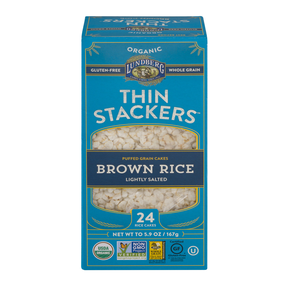 Lundberg Organic Thin Stackers Puffed Grain Cakes Brown Rice Lightly Salted - 24 CT